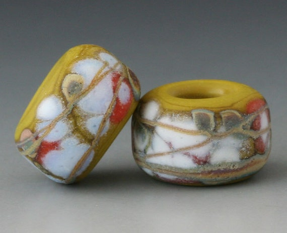 Rustic Pair - (2) Handmade Lampwork Beads - Wasabi, Golden, Coral - Etched, Matte, Tumbled