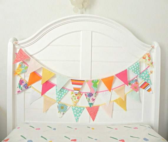 Gumball Circus Fabric Bunting Pennant Garland Decoration 9 Feet / Vintage Carnival Style / Featured on New Jersey Bride