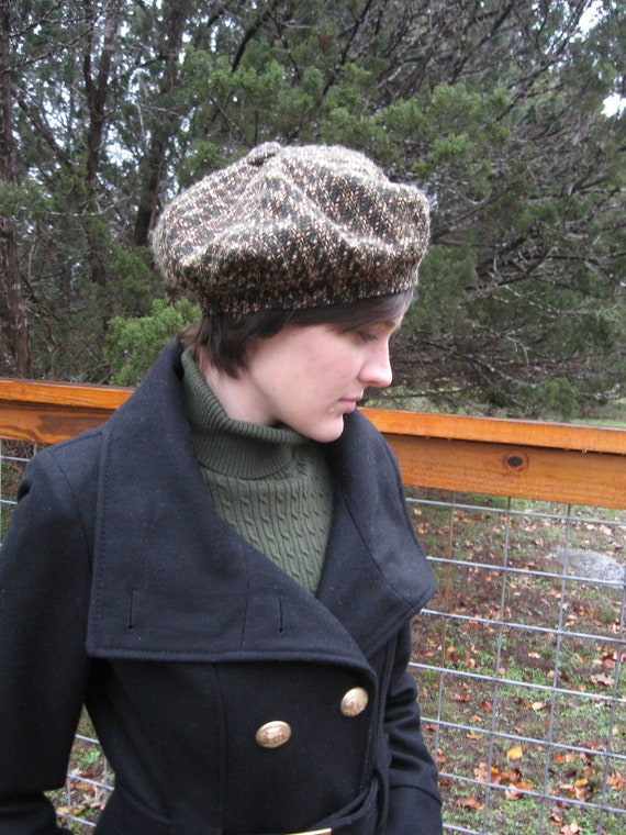 Upcycled Forest Green tan tweed beret wool woven plaid lined