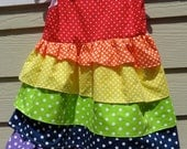 Rainbow Ruffle Polka-dot Dress- sizes 18mo to 5T