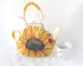 Felted purse teapot Sunflower flowers autumn fall