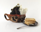 Felted coffee  cup coin purse  Africa  brown  handbag - galafilc