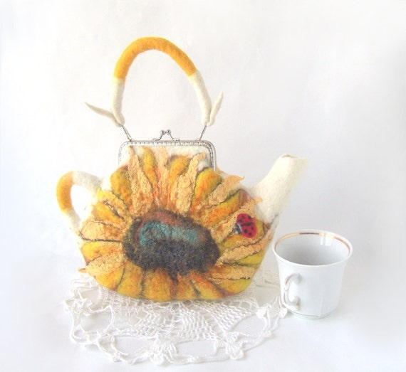 Felted purse teapot Sunflower flowers autumn fall