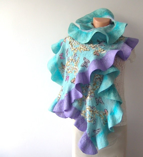 Nuno Felted scarf   ruffle Mint lavender butterlfy flower stole turquoise