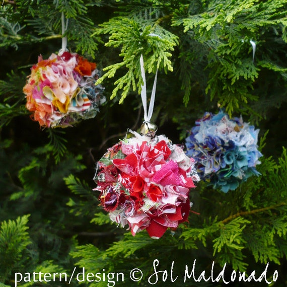 Christmas Ornament Tutorial - Scraps Fabric Pattern - NO sewing - Instant Download