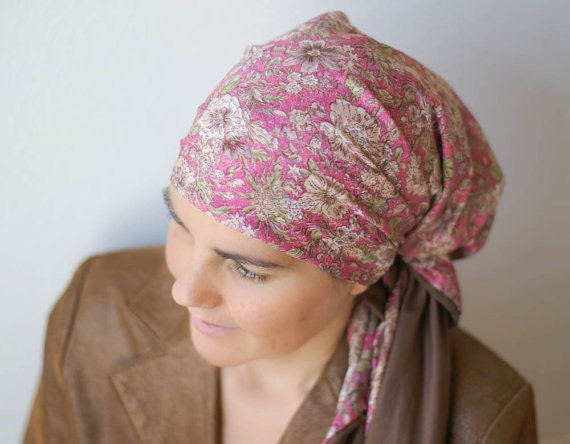 pink floral scarf israeli tichel headcovering by