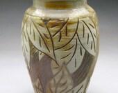 Wood Fired Vase With Carved Leaf Design