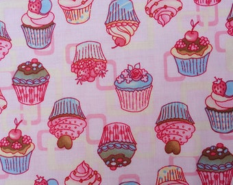 Cake, Sweet Cakes, Pink Sweet Cakes, muffin fabric 100 percent cotton 1 yard