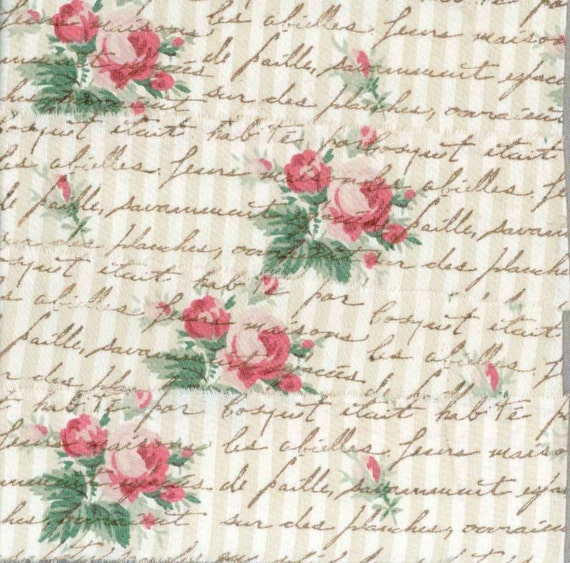 """deep pink roses  hand stamped muslin vintage french chic script 2"""" ribbon shabby cottage c493 . ....oohlala"""