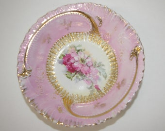 Antique Pink Candy Dish, Snack Dish,   1930's 1940's