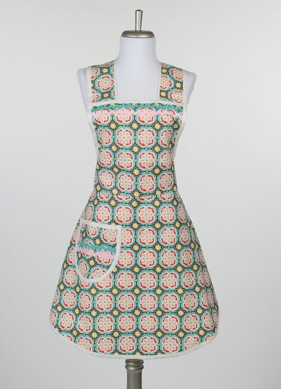 Cute Retro Apron Kate Spain Fabric Aqua Pink Orange and Brown