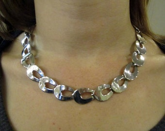 VINTAGE LINK NECKLACE, Upcycled, Retro, Silvertone, Wear 16 to 18 Inches, Repurposed Jewelry, Under 10 Dollars