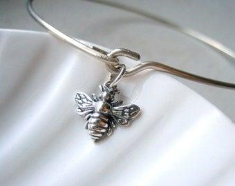 Bumble Bee Bangle Bracelet  - Sterling Silver Bangle - Stacking Bracelet