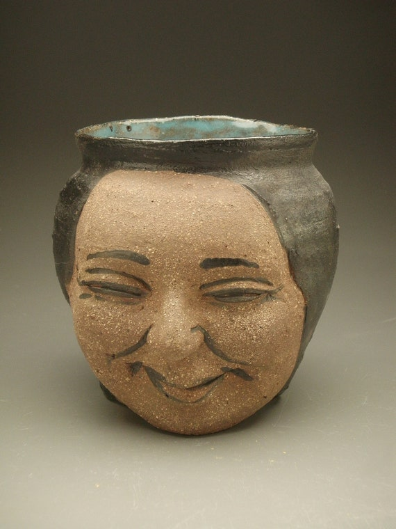 Face Vase Sculpture Pot Head Planter Smile Ikebana By