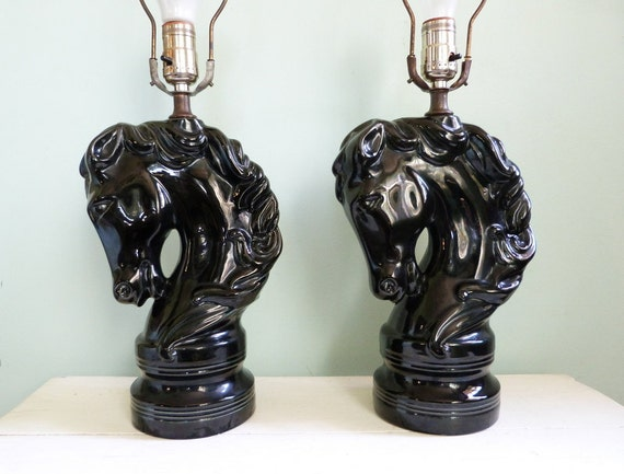 Vintage Horse Head Lamps Black Matching Pair Equestrian Chess Piece