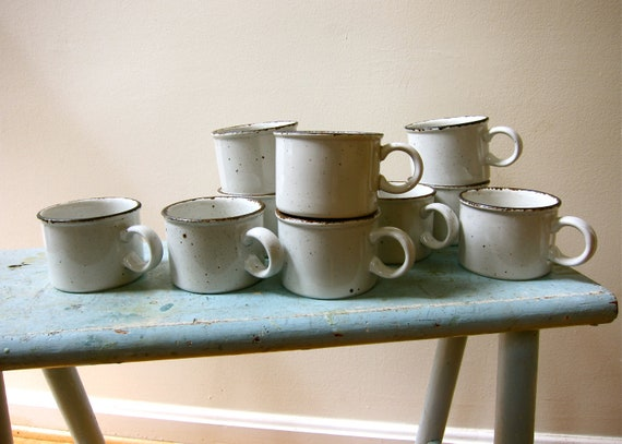 6 Stonehenge CREATION Stoneware Cups Designed by Eve Midwinter Mid Century Modern Classic Museum Worthy
