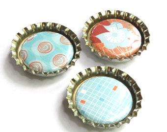 Set of 3 bottlecap magnets