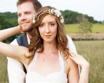 ivory cherry blossom hair crown, Bridal Flower Crown, wedding headpiece, head wreath in ivory, hair accessories, bridal, flower girl