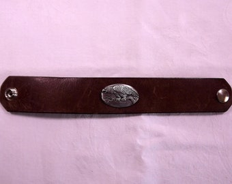 leather cuff, eagle concho, tobacco brown leather belt cuff, snap bracelet, Abercrombe and Fitch,