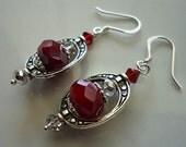 Victorian Velvety Red Glass Lantern Earrings