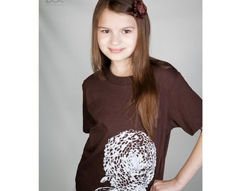 Flower T Shirt, Kids Shirt, Organic Cotton T Shirt, Chrysanthemum, brown, size 8 10 12, etsykids team
