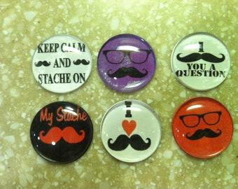 Handmade Mustache Magnets (Set of 6)