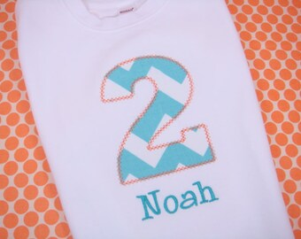 Boys First Birthday Outfit - Boys First Birthday Party - Boys Birthday Shirt - Chevron Birthday Shirt - Blue and Orange