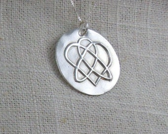 Celtic Sister Knot Necklace in Pure Silver pmc