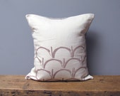 "Scallops Linen Pillow with Insert, 18x18"" Printed in Champagne & Ready to Ship ON SALE"