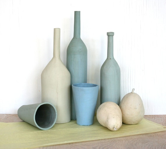 Still life with two pears. Bottles, fruit, blue, tan, spring, seaside, mantle piece, wedding, housewarming.