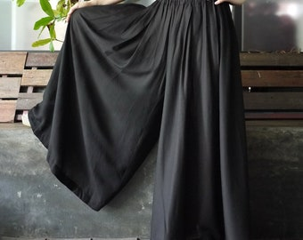 Timeless - Pleated Super Wide Leg Black Cotton Blend Rayon Pants