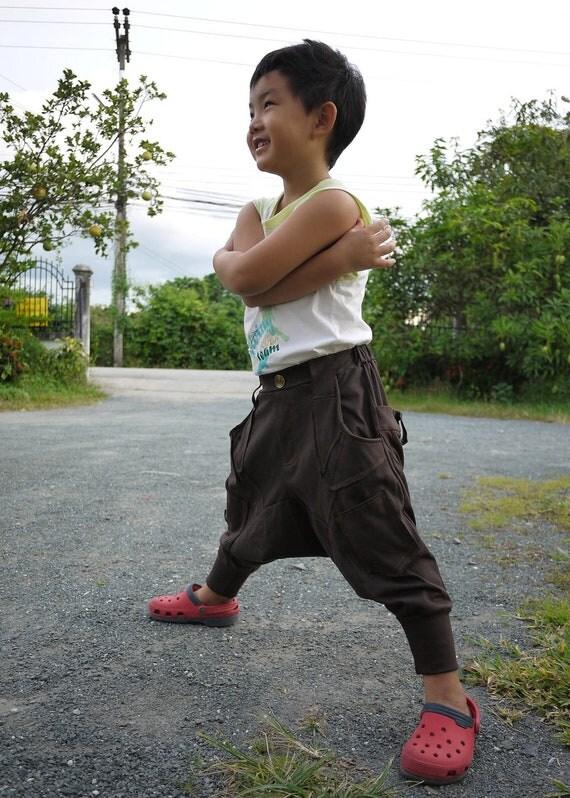 KID' s Unisex Harem Pants - Dark Brown Stretch Cotton Drop Crotch Pants With 6 Pockets