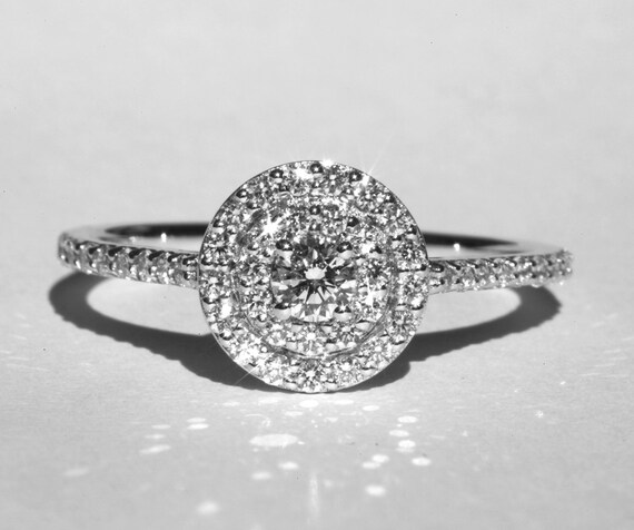 Platinum Custom Daimond Engagement ring for Matt - Double Halo - Pave - Partial payment