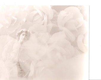 Vintage Photograph Statue and Roses  Artsy Vintage 8 X 10 Black and White