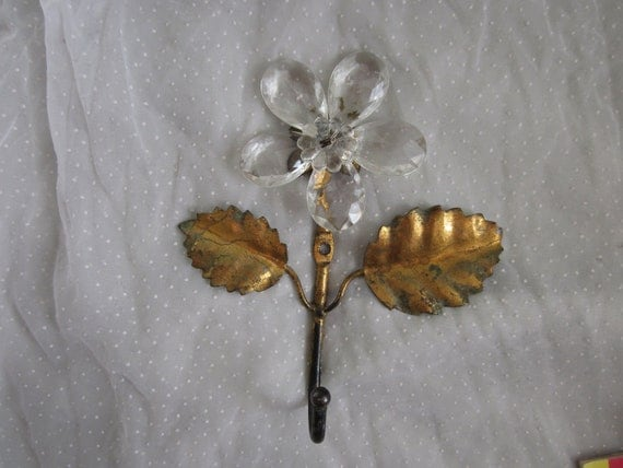 Shabby Sweet Metal Hook With Glass Flower Vintage Made in Italy Hanger