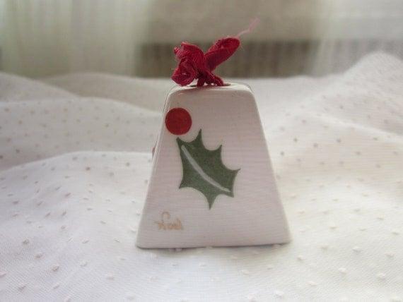 Holly Leaf Christmas Bell By Poinsettia Studios California