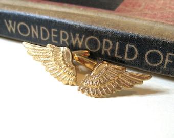 Petite Brass Wing Cufflinks - Steampunk - Angel - Solid Brass - Gold - Military - Air Force - Victorian - noir - cuff links - Soldered
