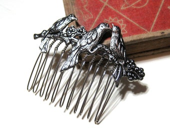 Birds on a Branch Hair Comb - Antiqued Silver