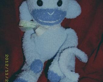 sock monkey, plush, stuffed animal, toy, doll, waldorf, new