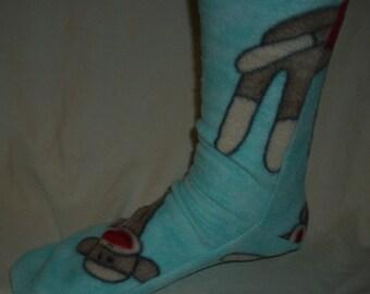 Sock monkey  fleece socks snow socks winter socks boot socks slippers