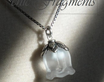 Genuine LALlQUE MUGUET CRYSTAL Necklace. Sterling Silver Chain. 'Single' Lily Of The Valley Flower.  Last One!!