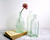 Vintage Glass Bottle Collection / Aqua Glass Bottles