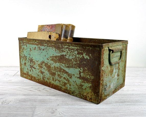 Vintage Industrial Metal Storage Bin Industrial By
