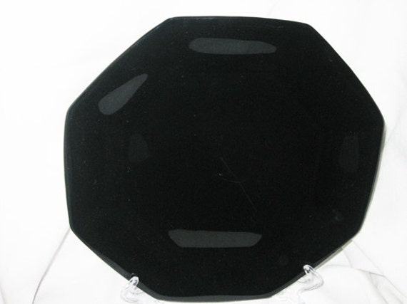 French Black Glass Octagon Dinner Plates 4