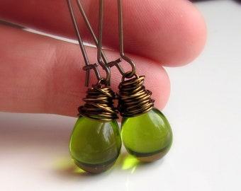 Olive Green Czech Glass Earrings, Antiqued Brass Wire Wrapped Mossy Teardrop Earrings