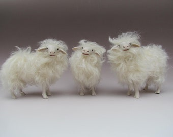Italian Sarda Sheep Figures in Porcelain and Mohair 5 1/2""