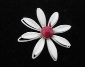 Pretty white vintage enamel flower pin brooch with red center. Vintage pin