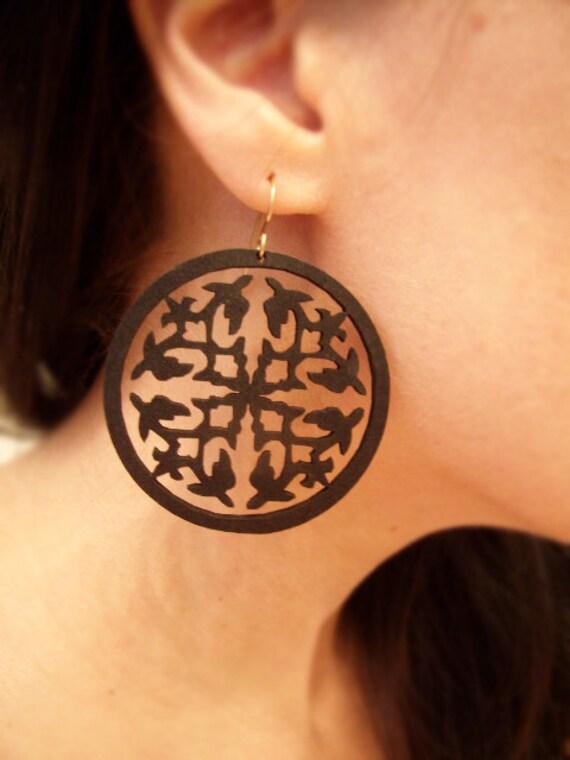 Wood Earrings - Dye Cut - Black Matte - Hoop Earrings - Gold Fill Earwires - Around the World - Black Friday Sale - Cyber Monday Deals