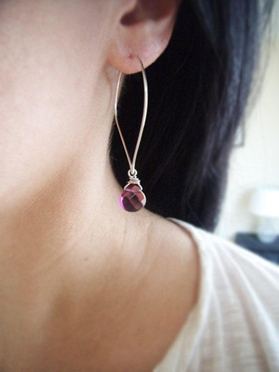Amethyst Earrings- Lotus Petal Hoop Earrings- February Birthstone Earrings- Silver Hoop Earrings- Silver Hoop Gemstone Earrings