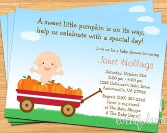 Fall Halloween Pumpkin Baby Shower Invitation - Red Wagon -  Printable